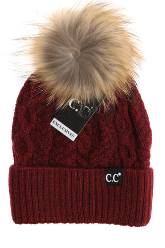 C.C Exclusive-Black Label Special Edition Ribbed Cuff Fur Pom Beanie- MULTIPLE COLORS