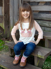 Girl's Let's Get Piggy with it Top with Pink Stripped Sleeves