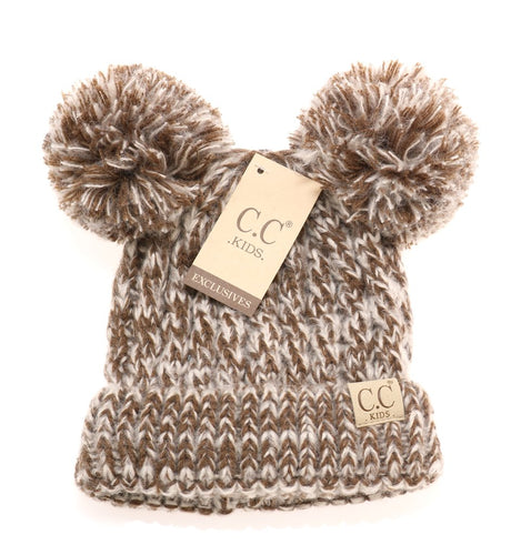 Kids Double Pom CC Beanie (MULTIPLE COLORS)