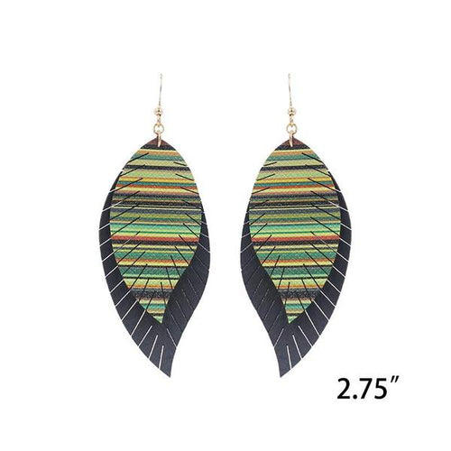 Black and Serape Feather Faux Leather Earrings