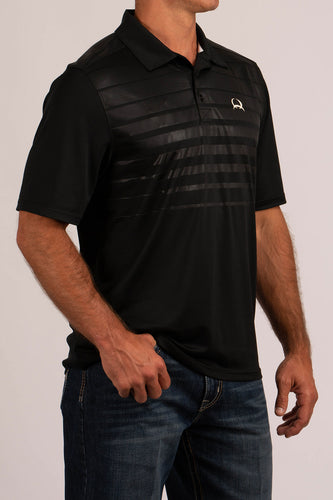 Men's Arena Flex Polo Two-Tone Black with White Accent- CINCH