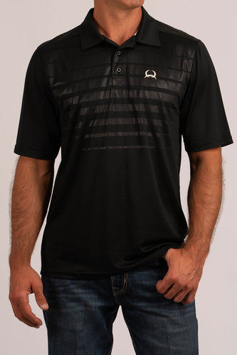 Cinch Men's Arena Flex Polo Two-Tone Black with White Accent