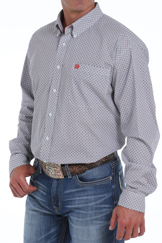 Cinch Men's Printed Long-Sleeve Button-Down Shirt