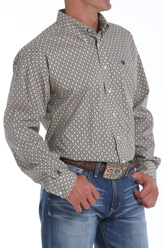 Cinch Men's Printed Camel Plan Weave Button-Down Shirt