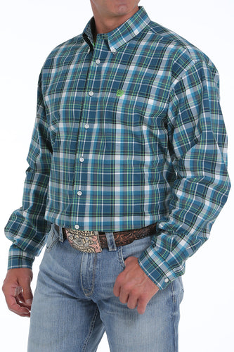 Cinch Men's Blue and Lime Green Plaid Button-Down Shirt