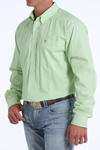 Cinch Men's Lime Green Pinstripe Button-Down Shirt