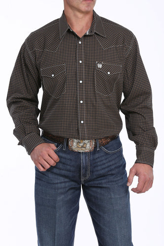 Cinch Men's Black & Khaki Long Sleeve Western Shirt