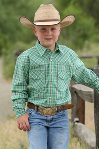 Cinch Boy's Long Green and Navy Plaid Pearl Snap
