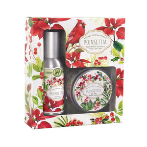 Michel Design Works Poinsettia Room Spray and Candle Travel Gift Set