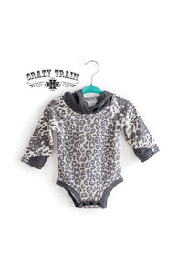 Crazy Train Rodeo Drive Leopard and Cowprint Hooded Onesie
