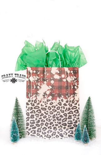 Crazy Train Plaid and Leopard Gift Bag