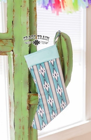 Crazy Train Sassy Santa Turquoise Aztec Stocking