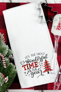 Christmas Plaid It's the Most Wonderful Time of the Year Waffle Weave Hand/Tea Towel