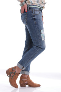 Women's Cinch Rhyon Straight Leg Medium Wash Patch Jeans