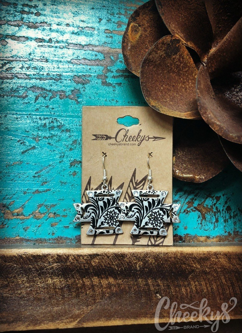 Nora Aztec Earrings in Burnished Silver