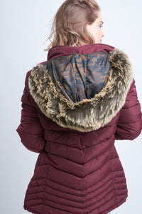 Burgundy Parka Puff Reversible Camo Jacket with Fur Hood
