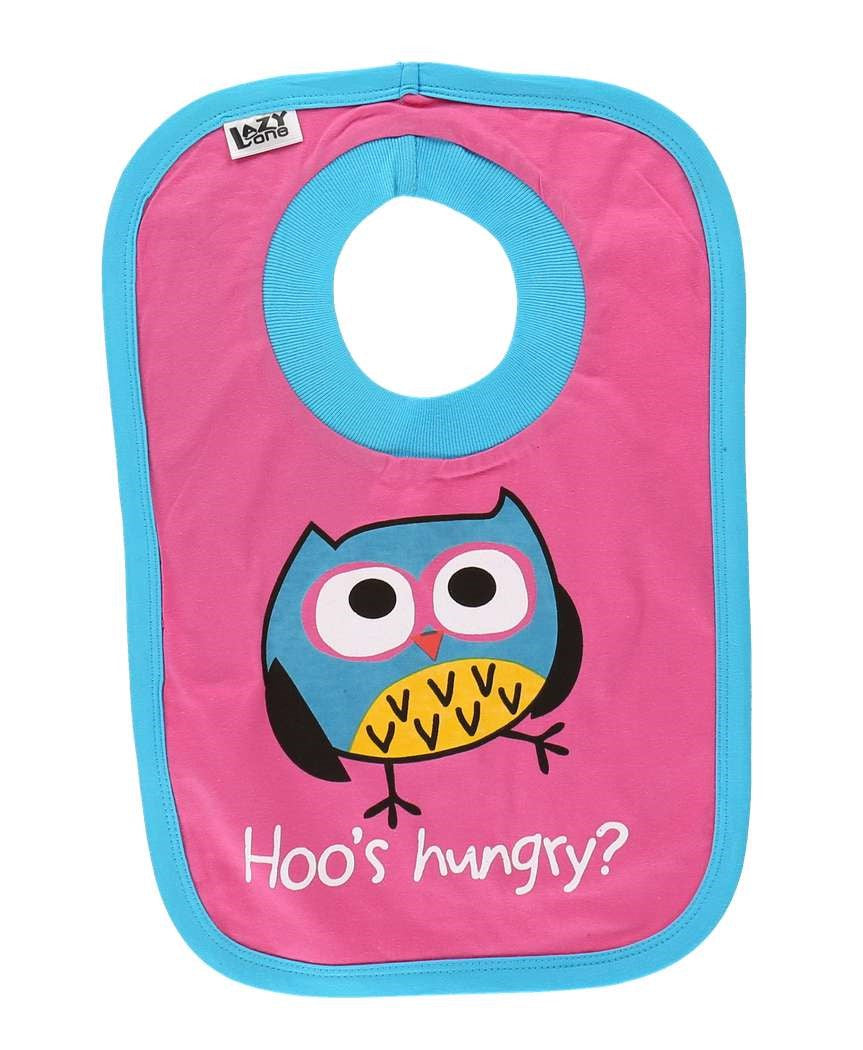Hoo's Hungry Owl Pink Infant Bib