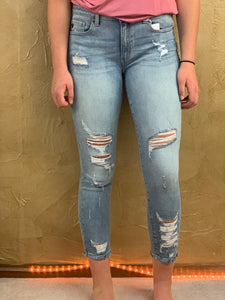 Kancan Mid Rise Ankle Distressed Skinny Jeans