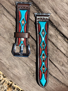 Leather Tapered Aztec Apple Watch Band Turquoise/Red