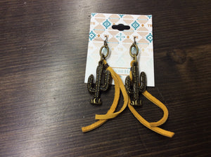 Saguaro Cactus Earrings with Fringe