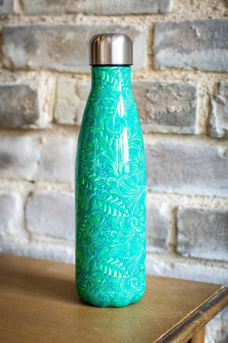 Turquoise Tooled Print Metal Bottle