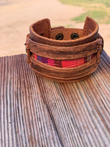 Leather Wide Cuff with Serape Leather Brown