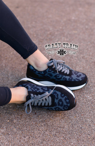 Crazy Train Roxbury Charcoal Leopard Kicks Shoes