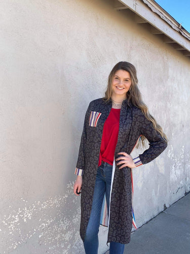 Crazy Train Havasu Falls Serape and Leopard Button Up Duster