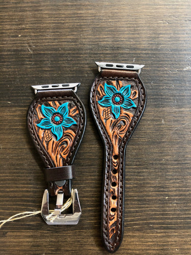 Leather Tear Drop Brown Background Turquoise Flower Apple Watch Band