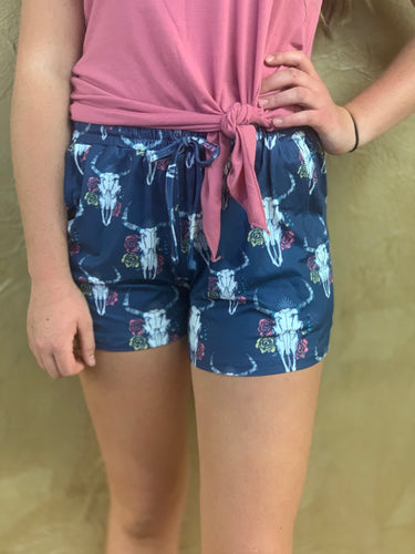Navy Bull Skull Lounge Shorts