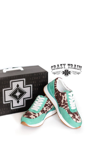 Crazy Train Moody Cowhide and Turquoise Kicks Shoes