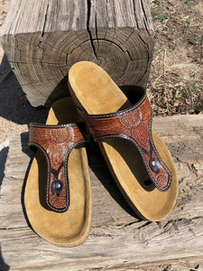 Leather Tooled Thong Sandal