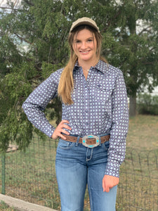 Cinch Women's Blue Print Long Sleeve Snap Front Shirt