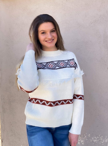 Diamond Rio Red and Off-White Sweater
