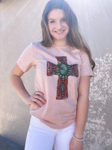 Aztec Cross With Turquoise Stone Graphic Tee