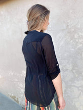 Black Sheer Top with Curved Hem