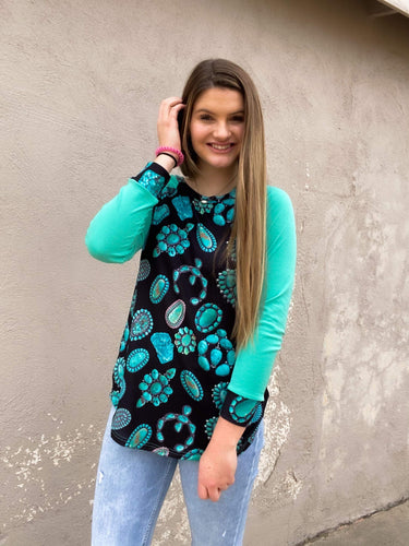 Crazy Train Turquoise Junkie Squash Long Sleeve Top