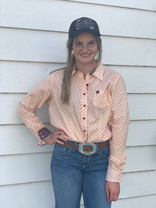 Women's Peach And Cranberry Dot Print Button-up Shirt