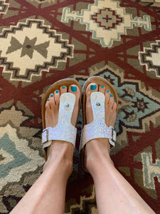 White Glitter Birkenstock Style Thong Sandal with or without Stone