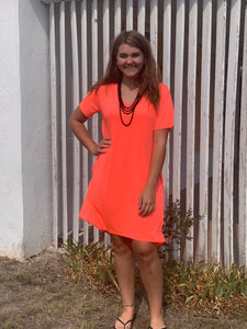Crazy Train Neon Coral Druzzy Dress