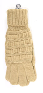 CC Solid Cable Knit Gloves- Camel