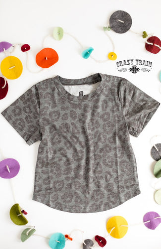 Crazy Train Kids Bear Creek Charcoal Leopard Tee