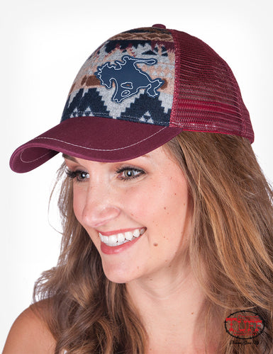 Cowgirl Tuff MAROON AZTEC TRUCKER CAP WITH BUCKIN' HORSE PATCH