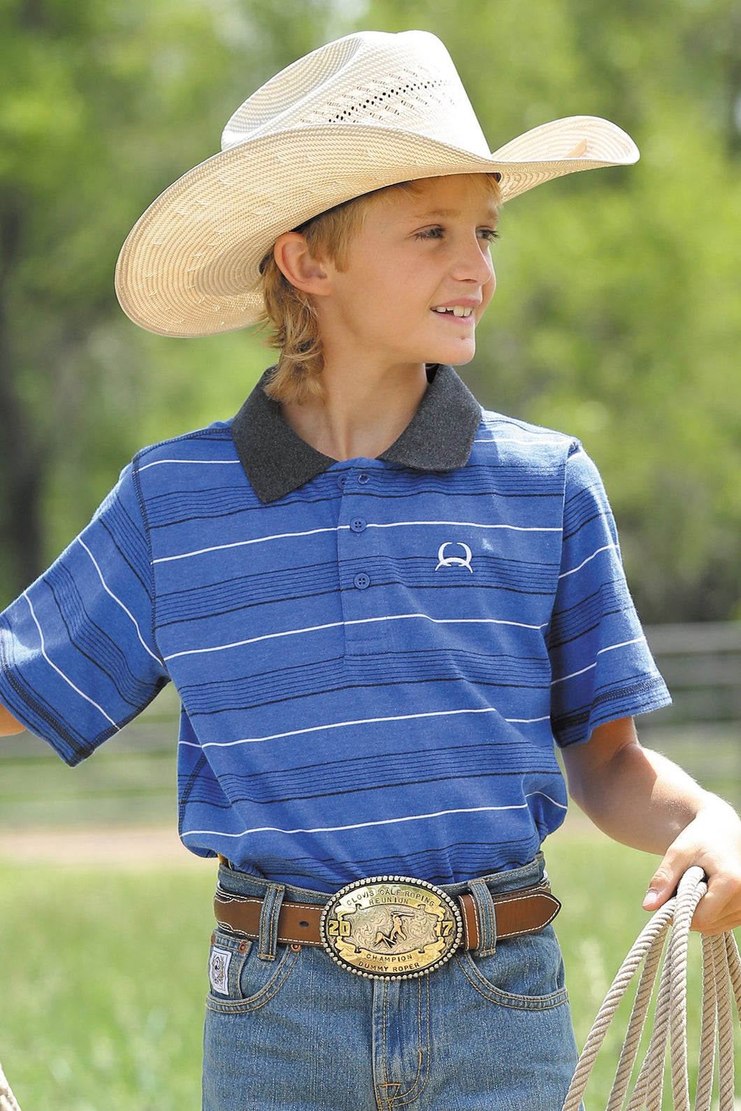 CINCH Boy's Heathered Blue, Black and White Polo