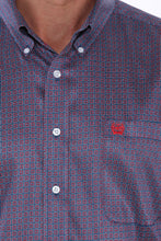 Men's Navy, Red and White Geometric Print Button-Down Western Shirt