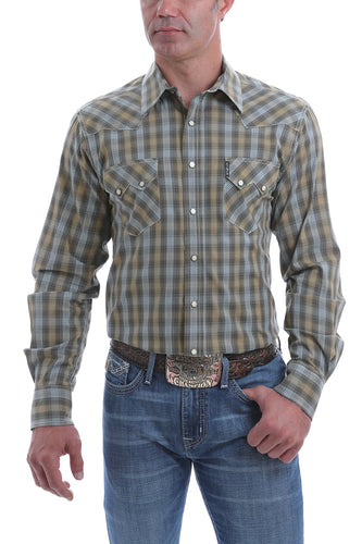 Men's Modern Fit Tan, Blue and Charcoal Plaid Western Snap Shirt