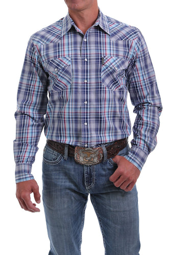 Men's Modern Fit Navy, Blue, Red and White Plaid Western Snap Shirt