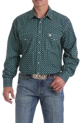 Cinch Men's Brown, Green, and Teal Geometric Print Snap Western Shirt