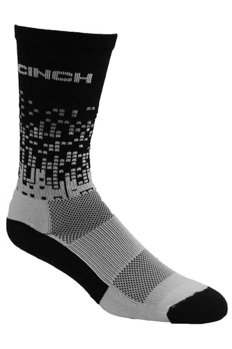 Cinch Men's White/Black Crew Sock
