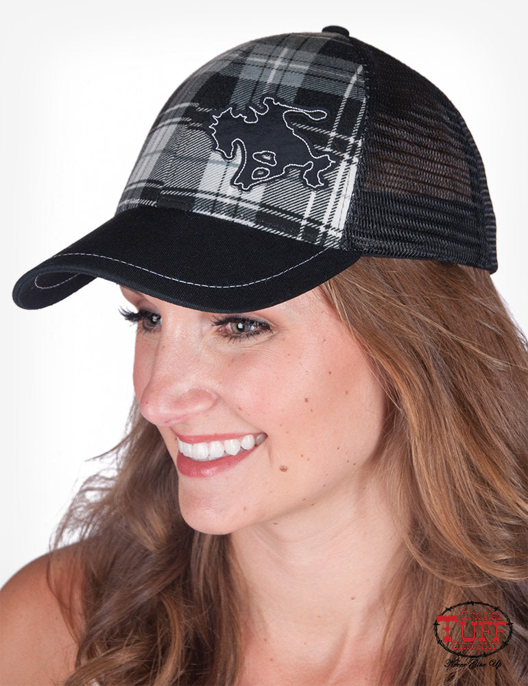 Cowgirl Tuff Black Plaid Trucker Cap with Buckin' Horse Patch
